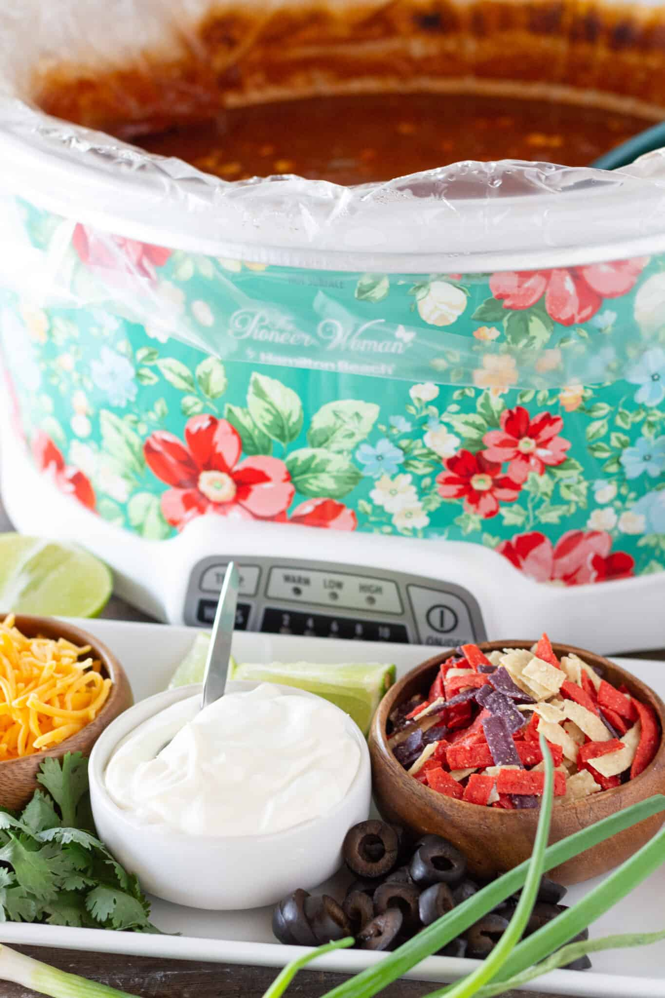 Easy Dinner Ideas: Crock Pot Taco Soup with Ground Beef featured by top US food blogger, Practically Homemade