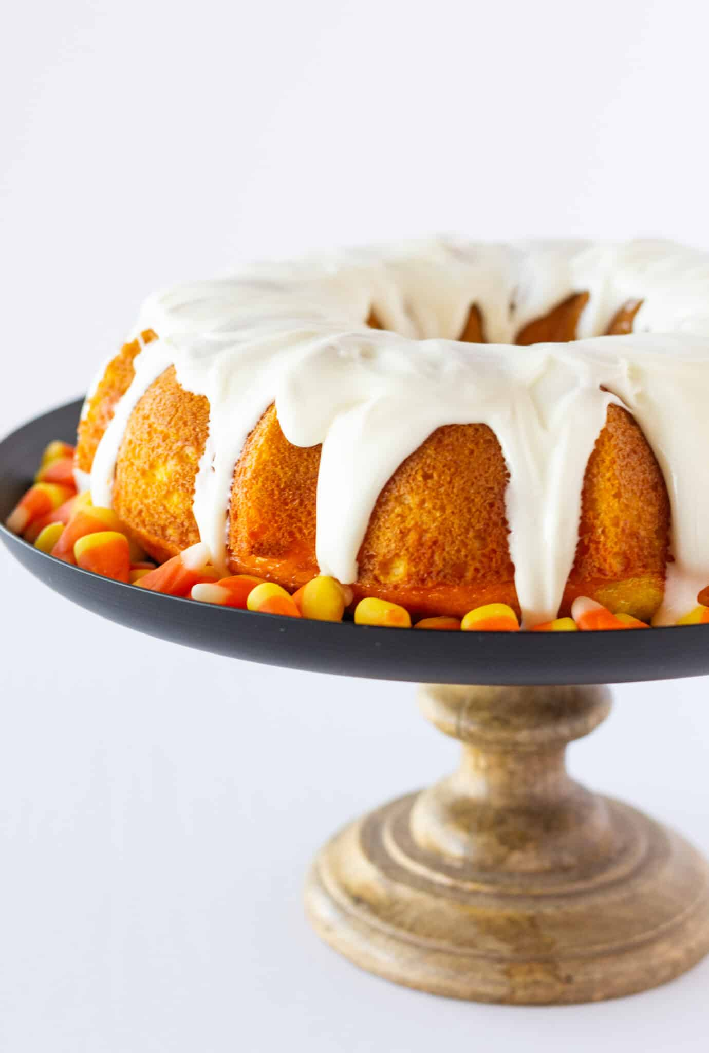 Candy Corn Bundt Cake, a Recipe with a Cake Mix featured by top US dessert blogger, Practically Homemade
