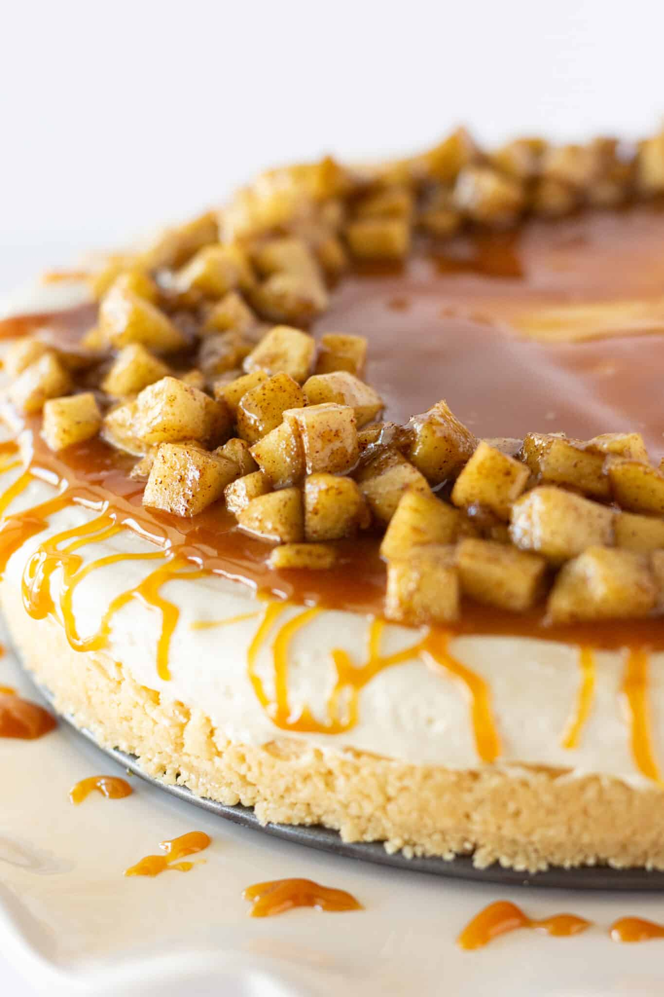 No Bake Caramel Apple Cheesecake, a Fall Dessert featured by top US recipe blogger, Practically Homemade