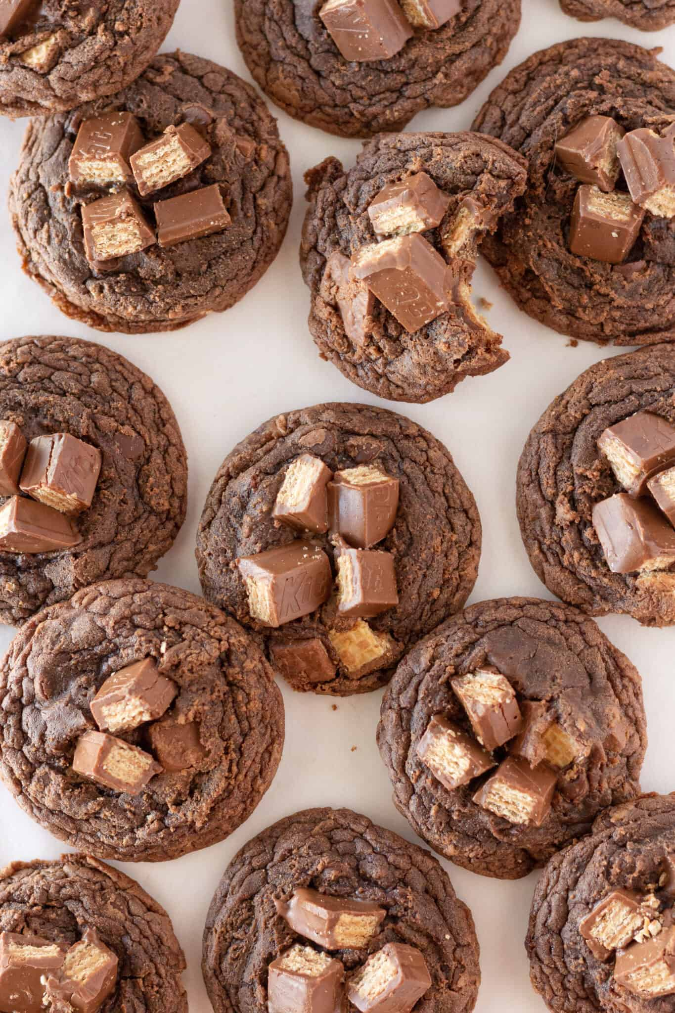 Kit Kat Cookies Recipe Made with a Brownie Mix featured by top US cookie blogger, Practically Homemade