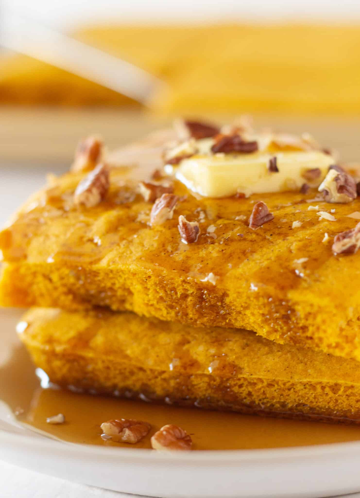 Pumpkin Sheet Pan Pancakes from Mix featured by top US food blogger, Practically Homemade