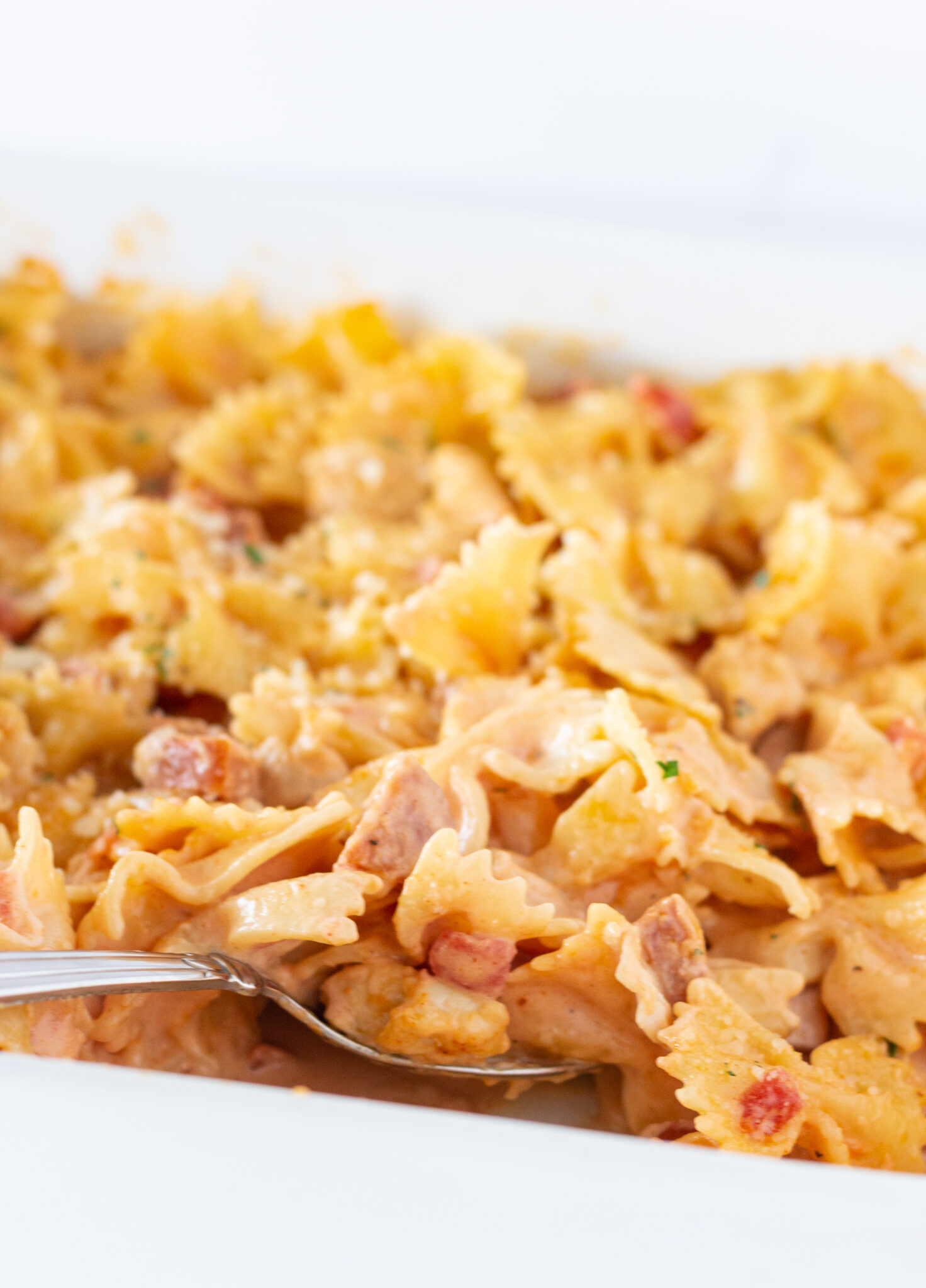 Easy Cajun Chicken Pasta Casserole, a Fall Recipe featured by top US food blogger, Practically Homemade