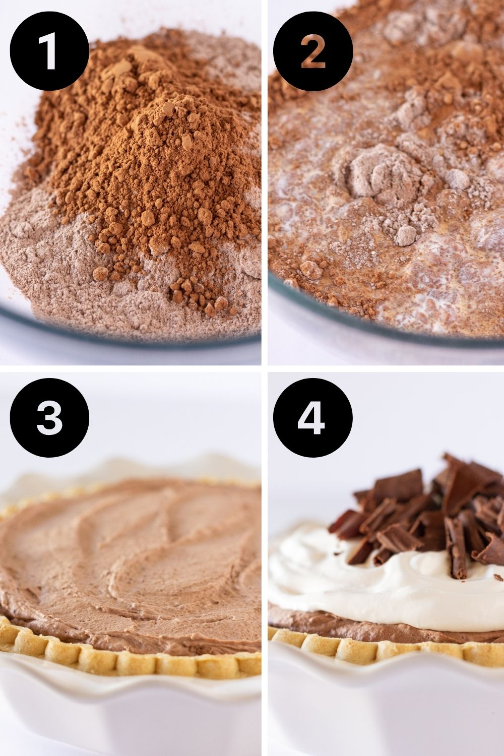 Easy Chocolate Mousse Pie Recipe with Pudding Mix featured by top US dessert blogger, Practically Homemade